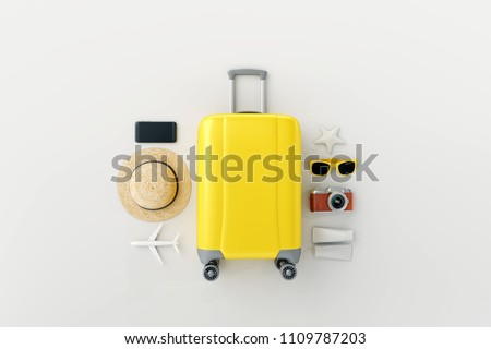 Flat lay yellow suitcase with traveler accessories on white bright background. travel concept Royalty-Free Stock Photo #1109787203