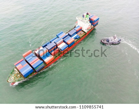 Aerial view of sea freight, Cargo ship, Cargo container in factory harbor at industrial estate Thailand, cargo to Port of Singaporer / Shipping - cargo to harbor #1109855741