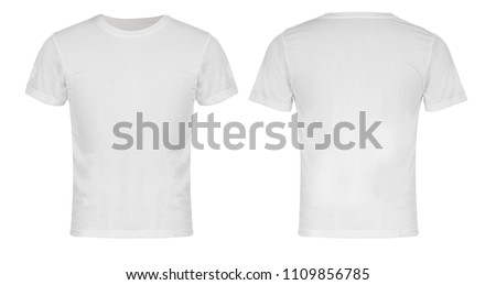 White Blank  T-shirt Front and Back #1109856785