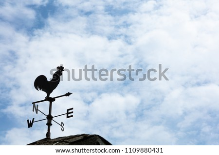 A weather vane, wind vane, or weathercock is an instrument for showing the direction of the wind. It is typically used as an architectural ornament to the highest point of a building. #1109880431