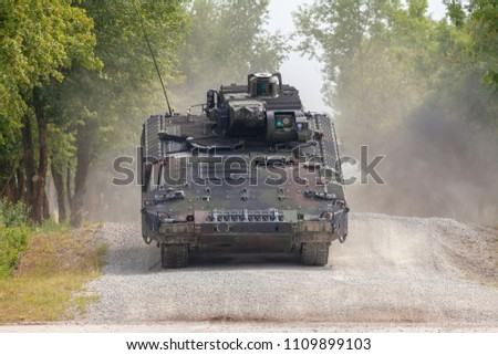 German infantry fighting vehicle drives on a street #1109899103