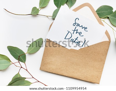 Phrase Save the Date in plants background #1109954954
