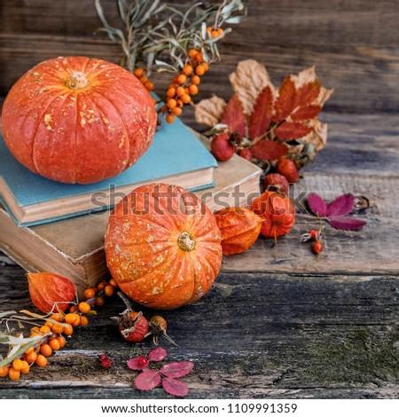 autumn cozy still life with pumpkin. orange pumpkins, autumn leaves and books on wooden background. atmosphere autumn still life, background for Thanksgiving, haloween #1109991359