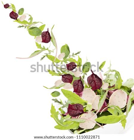 Falling salad in salad bowl. #1110022871
