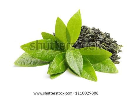 Green tea with leaf isolated on white background #1110029888