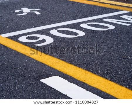 Traffic symbol on asphalt  road. #1110084827