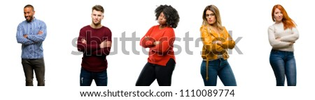 Group of cool people, woman and man with crossed arms confident and happy with a big natural smile laughing #1110089774