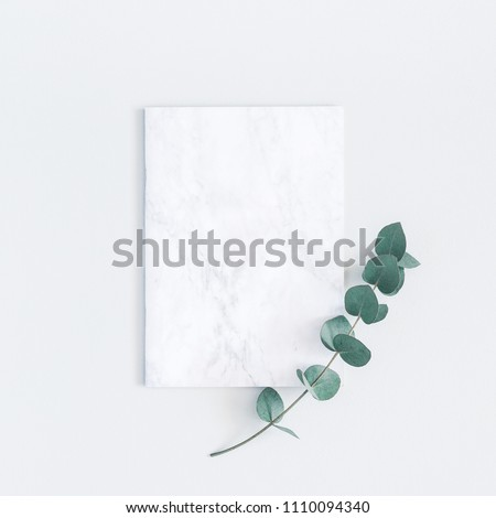 Marble paper blank, eucalyptus branches on pastel gray background. Flat lay, top view, square, copy space Royalty-Free Stock Photo #1110094340