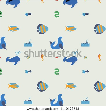 Abstract multicolored pattern with sea,fish background for fabric, textiles, clothing, wallpaper, wrapping paper, backpack, socks, bedding #1110197618