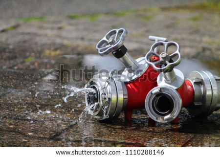 Adapter device for fire service with running water. Aqua pipe.  #1110288146