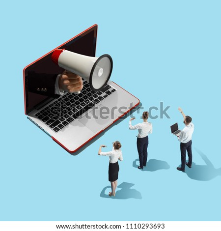 Flat isometric view of businessmen and woman and laptop with male hand with megaphone. Office items concept. Business processes, workplace concepts. Miniature people. Collage #1110293693