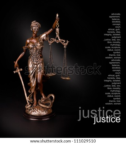 A picture of a Themis statue standing over black background