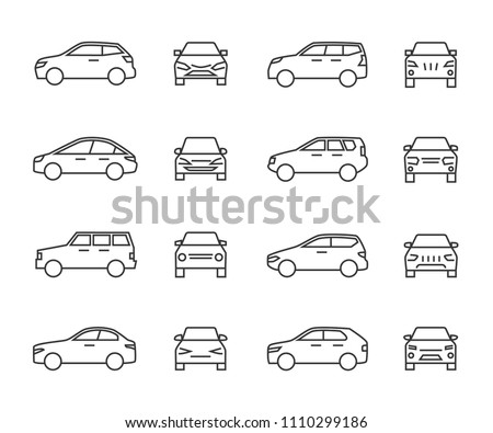 Cars front and side view line signs, auto symbols. Vehicle outline vector icons isolated on white background. Auto vehicle car, illustration of automobile transport #1110299186