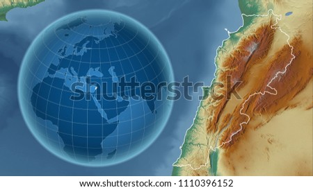 Lebanon. Globe with the shape of the country against zoomed map with its outline. Topographic relief map #1110396152