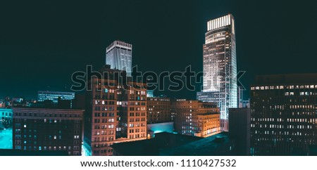 Panorama of skyline at night, Omaha, NE