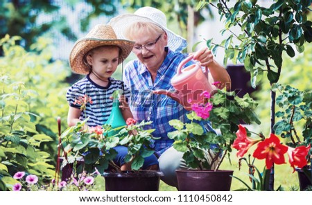 Gardening with kids. Grandmother and her grandchild enjoying in the garden with flowers. Hobbies and leisure, lifestyle, family life #1110450842