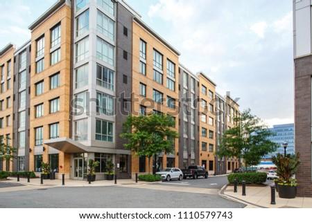 New Jersey, Weehawken / USA - 06 08 2018: Urban residential neighbourhood near Manhattan, New York. Townhouses and homes, street and facade.  #1110579743