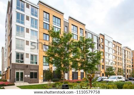 New Jersey, Weehawken / USA - 06 08 2018: Urban residential neighbourhood near Manhattan, New York. Townhouses and homes, street and facade.  #1110579758