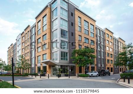 New Jersey, Weehawken / USA - 06 08 2018: Urban residential neighbourhood near Manhattan, New York. Townhouses and homes, street and facade.  #1110579845