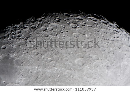 picture of the moon surface by telescope. This zone is called terminator, twilight zone or grey