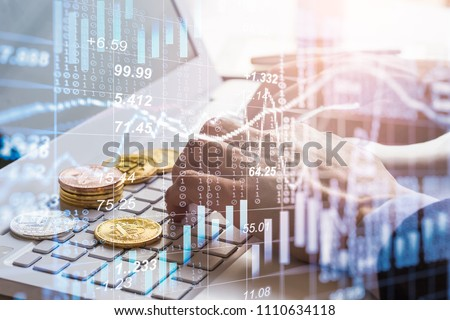 Modern way of exchange. Bitcoin is convenient payment in global economy market. Virtual digital currency and financial investment trade concept. Abstract cryptocurrency with gold bitcoin background. #1110634118