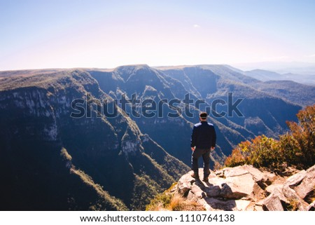 A man looking at the canyon in Rio Grande do Sul #1110764138