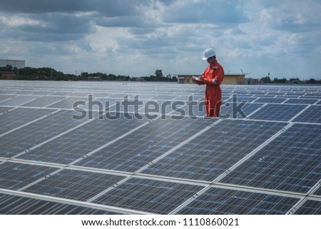 operation and maintenance in solar power plant ; engineering team working on checking and maintenance in solar power plant ,solar power plant to innovation of green energy for life #1110860021