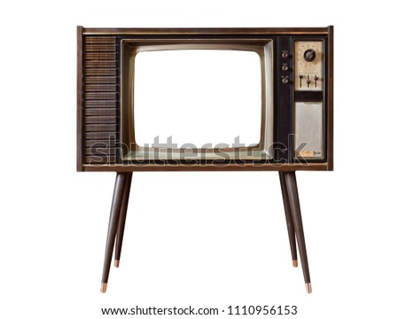 Vintage old TV standing and cut out screen with clipping path isolated on white background, Classic, retro old tv technology with wood case. #1110956153