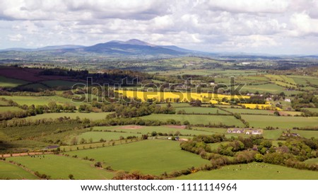 Panoramic view towards Blackstairs Mountains in County Carlow,Ireland. #1111114964