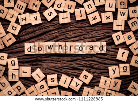 Download word written cube on wooden background. Vintage concept.