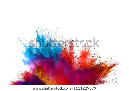 Freeze motion of colored powder explosions isolated on white background #1111229579