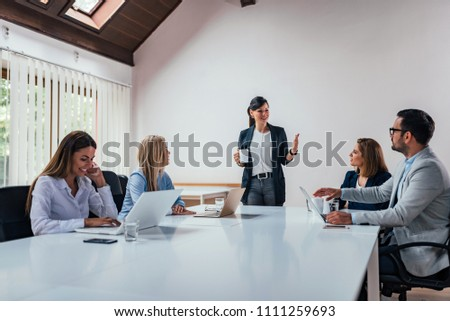 Business people conference in modern meeting room. #1111259693