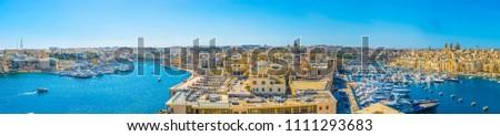 BIRGU, MALTA, MAY 2, 2017: Aerial view of Birgu town in Malta  #1111293683