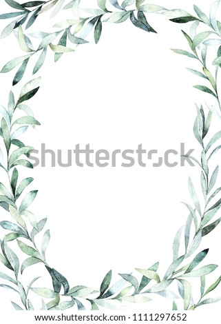 Watercolor frame with eucalyptus branch for card, wedding, greeting, invitation. Hand drawn illustration