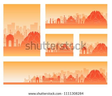 India landscape banners set. Design illustration #1111308284