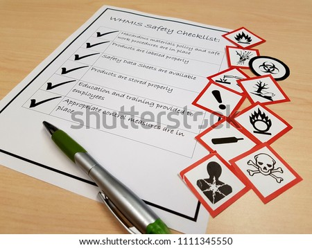 WHMIS safety data sheets checklist training hazardous products pictograms white red symbols workplace health and safety employee supervision compliance legislation #1111345550