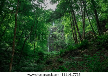 wide angle of waterfall through the forest #1111417733