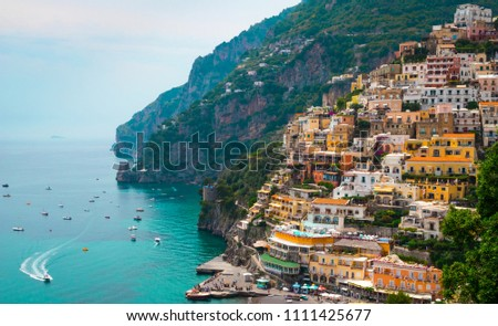 this is Positano Italy sea sky and building.My wonderful horiday traveled #1111425677
