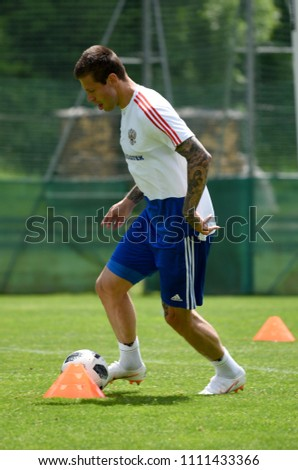 Innsbruck, Austria – May 30, 2018. Russian football player Fedor Smolov during training camp in Neustift, Austria. #1111433366