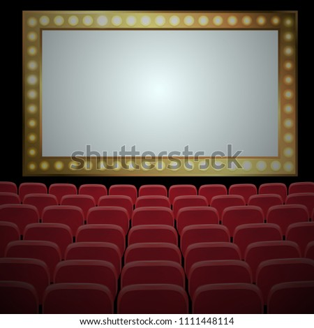 Rows of red cinema or theater seats in front of  white screen. Vector illustration. #1111448114