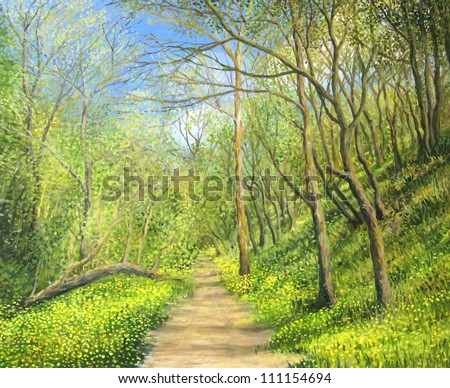 An oil painting on canvas of a seasonal landscape with a vivid green forest in spring time and a footpath surrounded by a carpet of yellow wild flowers in a bright sunny day.