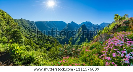 Panorama of Cirque de Mafate on the Island La Reunion, France Royalty-Free Stock Photo #1111576889