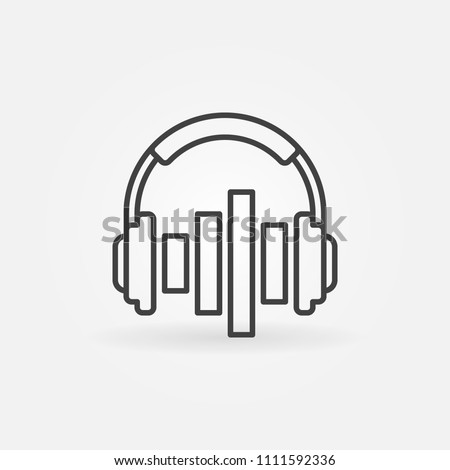 Music headphones with equalizer vector concept icon or design element in outline style #1111592336