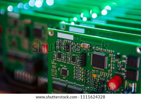 Closeup of Lot of Electronic Printed Circuit Boards with Lots of Surface Mounted Components.Horizontal Image Orientation #1111624328