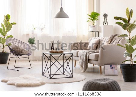 Real photo of a black table standing next to a beige sofa and an armchair in cozy living room interior with plants around them #1111668536