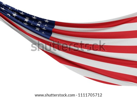 The national flag of United States. Waving fabric flag with texture draped on a plain white background. 3D Rendering #1111705712