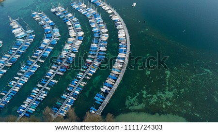 aerial view of yacht harbor #1111724303