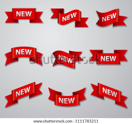illustration of set of advertising glossy banners and tags for new product #1111783211