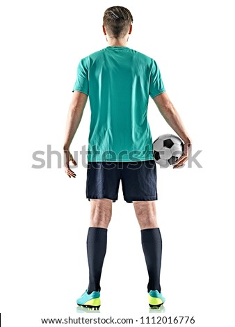one caucasian soccer player man standing Rear View holding football isolated on white background #1112016776