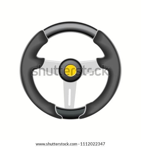 Automobile sports steering wheel, vector illustration, EPS 10. #1112022347